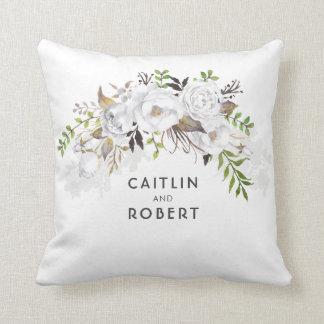 Coussin L'aquarelle blanche fleurit romantique élégant