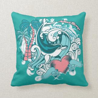 Coussin Le dauphin ondule le carreau de graphique de brise