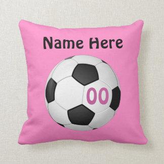 Coussin Le football personnalisé par rose repose le NOM,