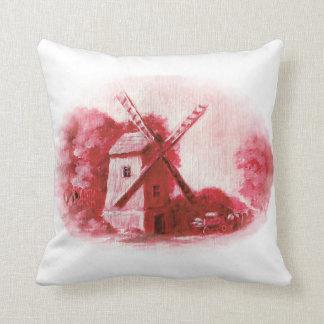Coussin Le moulin de vent, motif rouge de Delft, gens