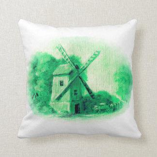 Coussin Le moulin de vent, motif vert de Delft, gens