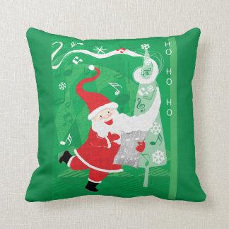 Coussin Le père noël de Noël, de chant et de danse mignon