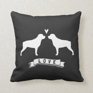Coussin Le rottweiler silhouette l'amour