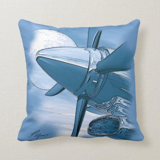 coussin les avions vintages de turbo reposent le bleu. Black Bedroom Furniture Sets. Home Design Ideas