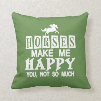 Coussin Les chevaux me rendent heureux