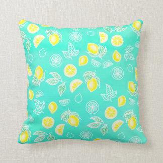 Coussin Les fruits de citrons de jaune d'aquarelle d'été