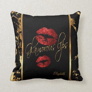Coussin Lèvres rouges fascinantes de scintillement