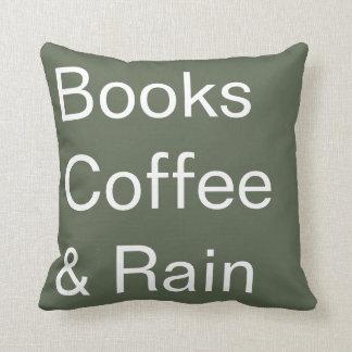 Coussin Livres café et pluie