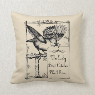 Coussin L'oiseau tôt attrape le carreau de ferme de ver