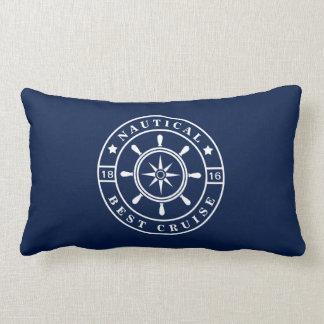 Coussin lombaire d'étiquette nautique de bleu