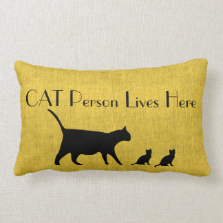 Coussin lombaire jaune et noir de personne de chat