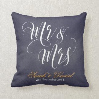 Coussin M. et Mme blancs bleu-foncé Wedding Keepsake