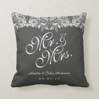 Coussin M. et Mme Wedding Pillow de tableau de dentelle