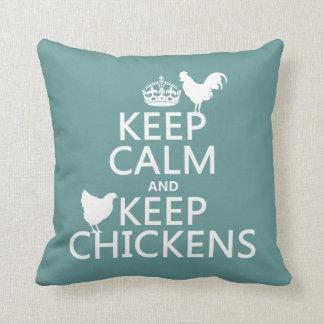 Coussin Maintenez calme et gardez les poulets (toute