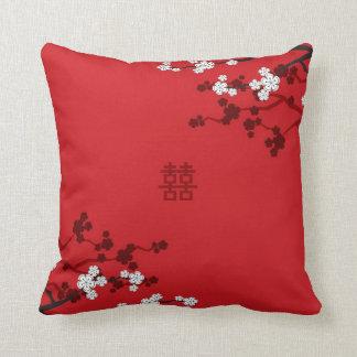 Coussin Mariage chinois de double bonheur de fleurs de