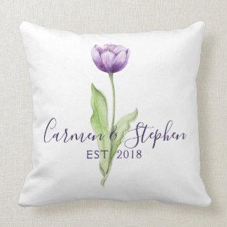 Coussin Mariage simple mauve-foncé minimaliste de tulipe