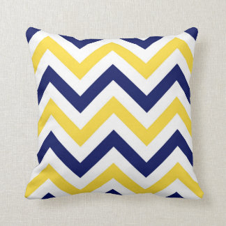 Coussin Marine, ananas, grand motif de zigzag blanc de