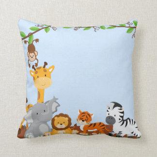 Coussin mignon bleu d'animaux de bébé de jungle