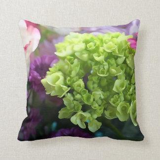 Coussin Mini carreau vert de fleur d'hortensia