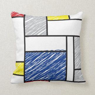 Coussin minimaliste de griffonnages d'art de Mondr