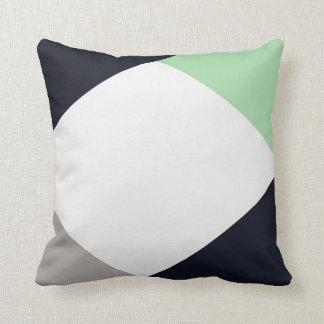 Coussin minimaliste moderne de marine et de menthe