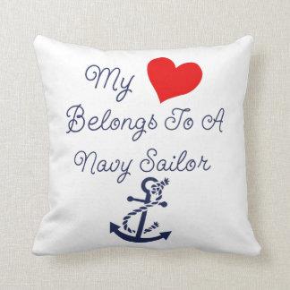 Coussin Mon coeur appartient à un marin de marine
