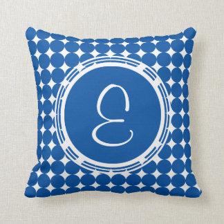 Coussin Monogramme bleu de point de polka