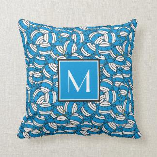 Coussin Monogramme bleu du motif | de confusion de M. Bump