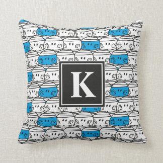 Coussin Monogramme bleu du motif | de M. Bump |