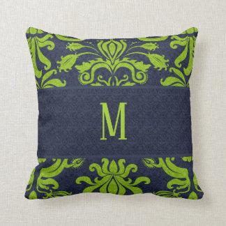 Coussin Monogramme de damassé de bleu marine et de vert