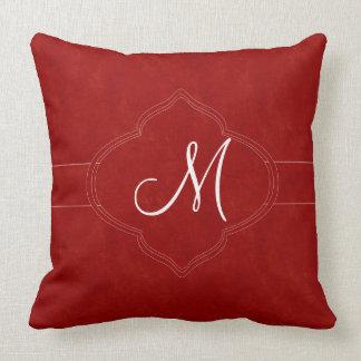 Coussin Monogramme de rouge riche