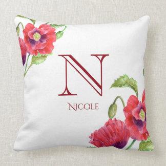Coussin Monogramme floral d'art de pavots rouges