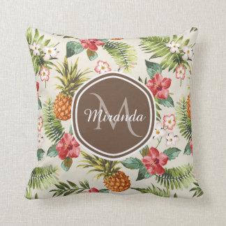 Coussin Monogramme floral de Brown d'ananas tropical