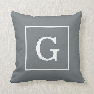 Coussin Monogramme initial encadré de blanc gris de