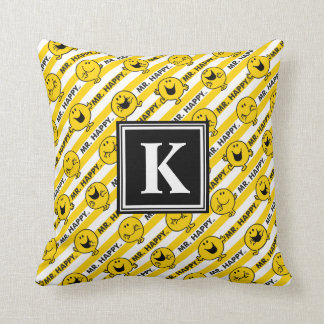 Coussin Monogramme jaune du motif | de rayures de M. Happy