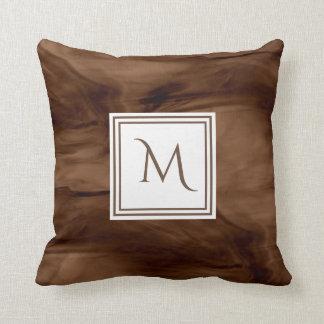 Coussin Monogramme moderne de marbre subtil foncé simple