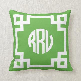 Coussin Monogramme principal grec vert et blanc RRV de
