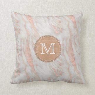 Coussin Monogramme rose de coutume de marbre d'or