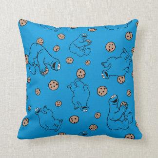 Coussin Monstre de biscuit et motif bleu de biscuits