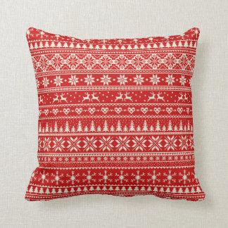 Coussin Motif alpin rouge et crème de Noël