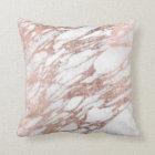 Coussin Motif blanc et rose élégant chic de marbre d'or