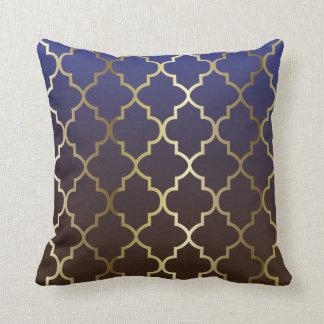Coussin Motif bleu-foncé et de Brown du mélange | d'or de