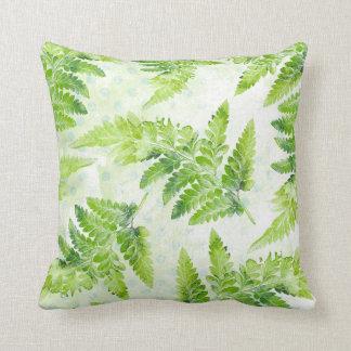 Coussin Motif botanique d'aquarelle de belle fougère verte