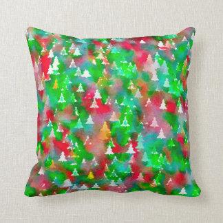 Coussin Motif d'aquarelle d'arbre de Noël