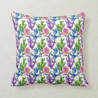 Coussin Motif de cactus de fleur sauvage d'aquarelle