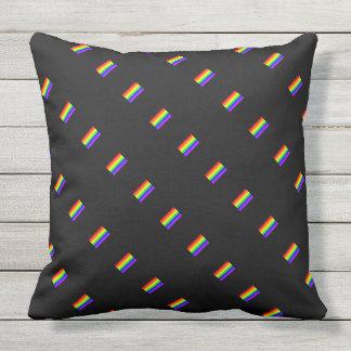 Coussin Motif de drapeau d'arc-en-ciel de gay pride de