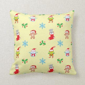 Coussin Motif de Noël de souris, de bonhomme de neige, de