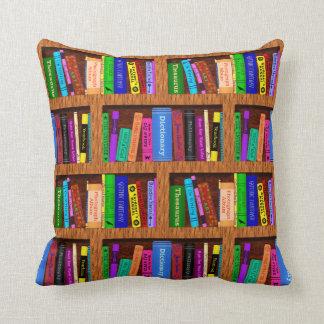 Coussin Motif d'étagères à livres de bibliothèque pour des