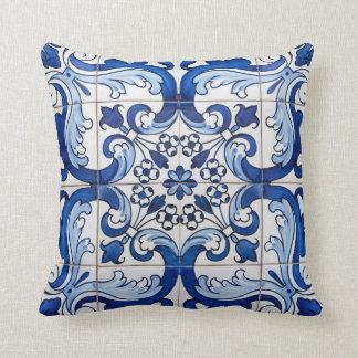 Coussin Motif floral de tuile antique d'Azulejo