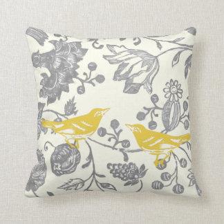 Coussin Motif floral vintage en ivoire gris jaune d'oiseau